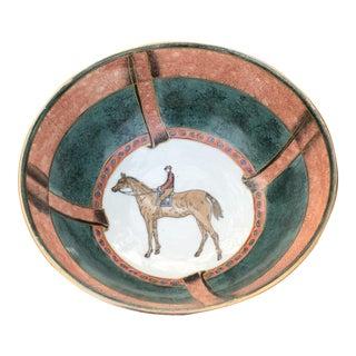 Vintage Chinese Equestrian Jockey Horse Bowl