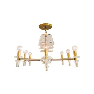 Lucite/Brass/Chrome Mod Chandelier For Sale