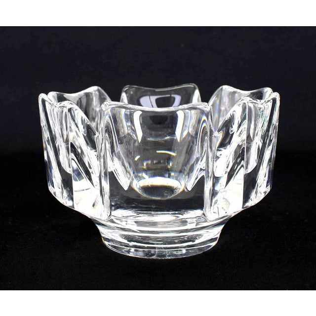 Transparent Pair of Heavy Crystal Bowl Vases by Orrefors For Sale - Image 8 of 9