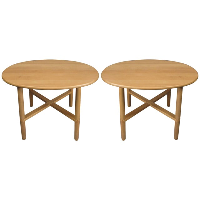 Beige Pair of Oval Danish Tables by Haslev For Sale - Image 8 of 8