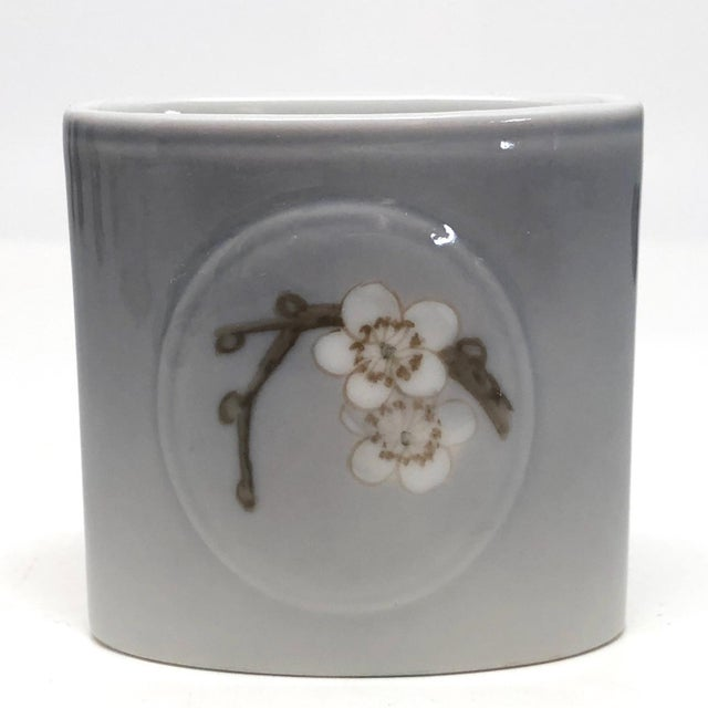 Mid 20th Century Bing & Grondahl Denmark Porcelain Ashtray and Cigarette Holder With Blossom on Branch - a Pair For Sale - Image 5 of 13