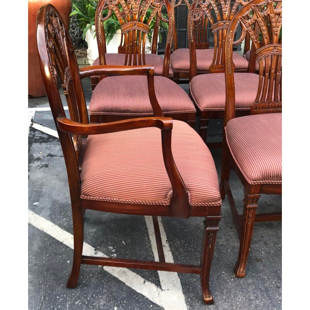2000 - 2009 Set of 12 Maitland-Smith Georgian Mahogany Dining Chairs For Sale - Image 5 of 11