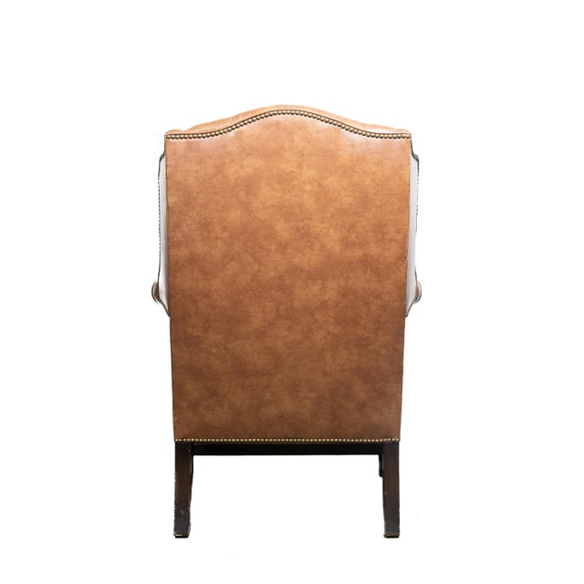 Vintage Wingback Tufted Leather Chairs - a Pair For Sale In Chicago - Image 6 of 7