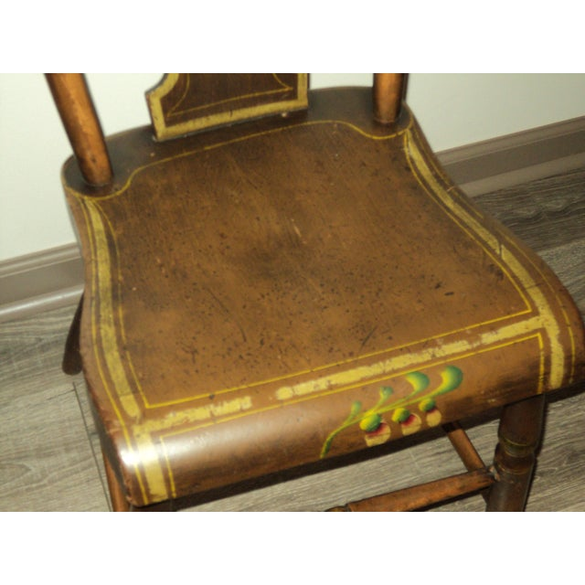 French Late 19th Century Antique Hitchcock Style Painted Dining Room Side Chairs- Set of 6 For Sale - Image 3 of 9