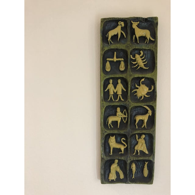 Green Mid-Century Zodiac Ceramic Wall Art For Sale - Image 8 of 9