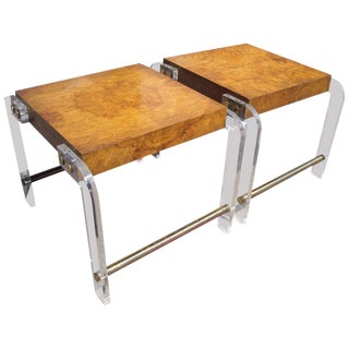 1970s Mid-Century Modern Milo Baughman Burl Lucite and Brass Side Tables - a Pair For Sale