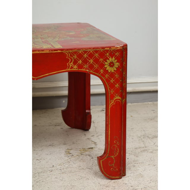 Asian Vintage Hand Painted Red Lacquered Chinoiserie Cocktail/Coffee Table For Sale - Image 3 of 11