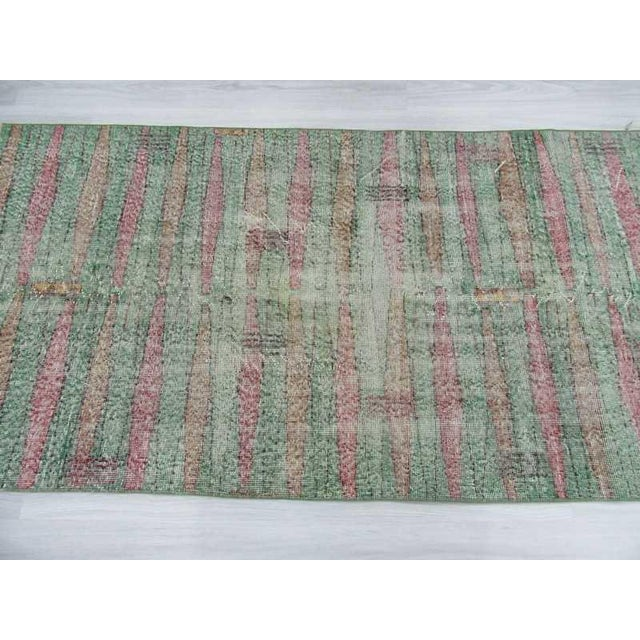 Distressed Vintage Turkish Art Deco Style Green Rug - 3′5″ × 6′5″ - Image 4 of 6
