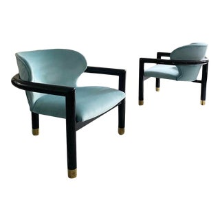 1970s Mid-Century Post Modern Italian Lounge Chairs - a Pair For Sale