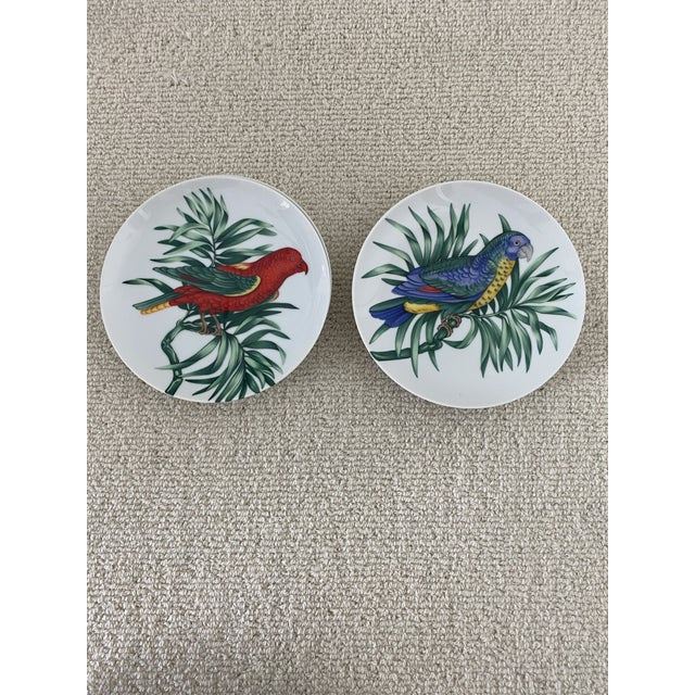 """Fitz and Floyd Vintage Fitz and Floyd Parrot """"Perroquet"""" Dessert or Salad Plates. Set/6 For Sale - Image 4 of 7"""