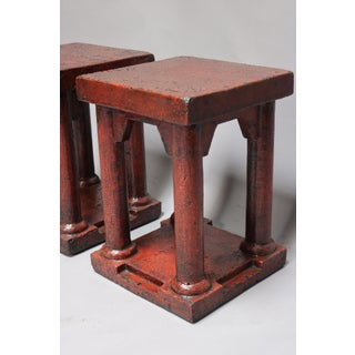 Elm Red Lacquered Column Leg Stools - a Pair Preview