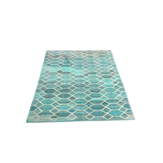 """HandmadeTraditional Turquoise Kilim Rug 11'4"""" X 8'3"""""""