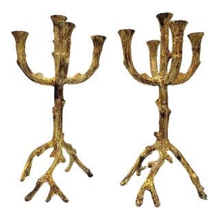 Vintage Brutalist Metal Candle Holders- a Pair For Sale