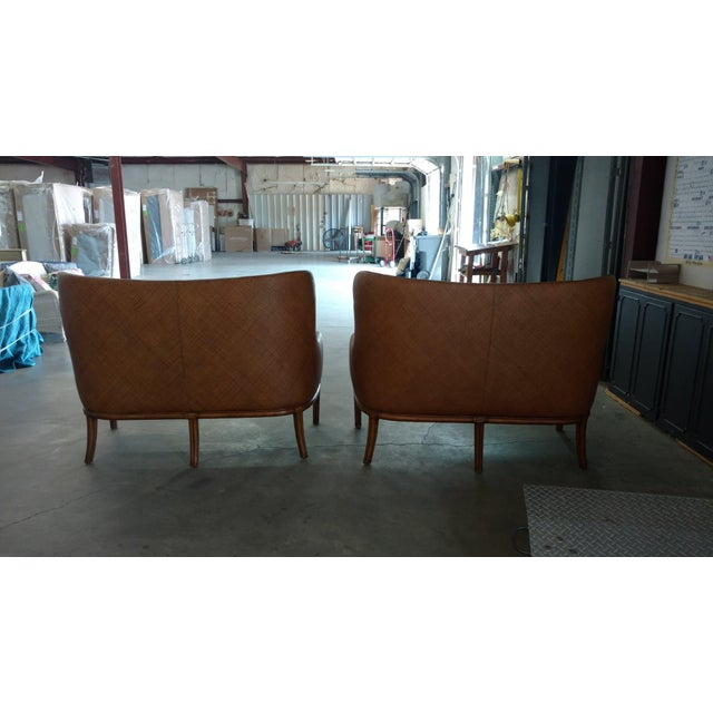 Awe Inspiring Henredon Wicker Settee With Leather Bench Seats A Pair Inzonedesignstudio Interior Chair Design Inzonedesignstudiocom
