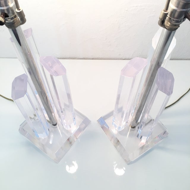 Silver Vintage Karl Springer Style Lucite Lamps- A Pair For Sale - Image 8 of 9