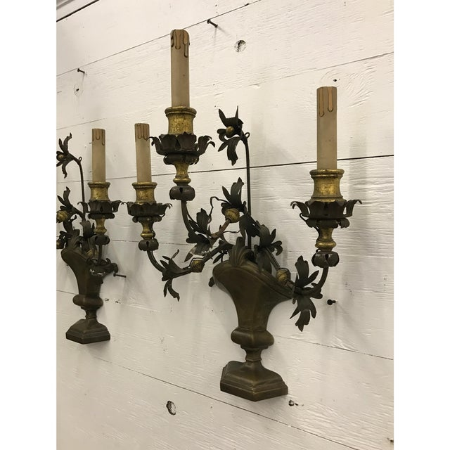 Italian Wrought Iron and Brass Sconces - a Pair - Image 2 of 4