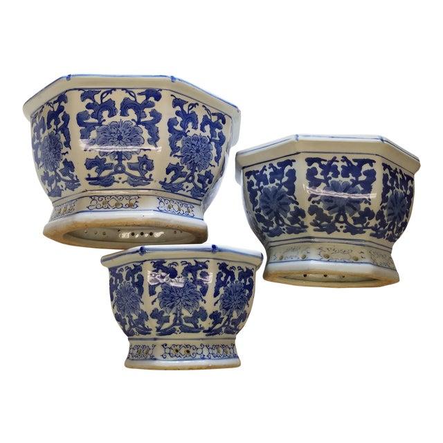 Chinese octagonal blue white flower pots cachepots set of 3 chinese octagonal blue white flower pots cachepots set of 3 mightylinksfo