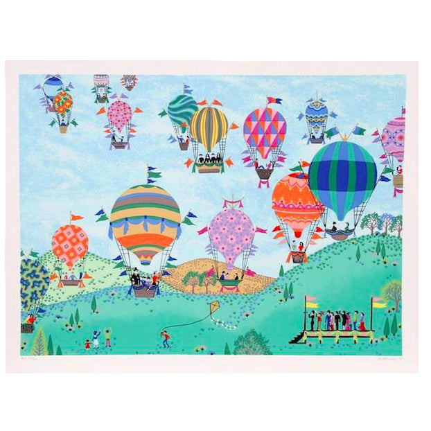 Jack Hofflander Balloon Race Serigraph For Sale