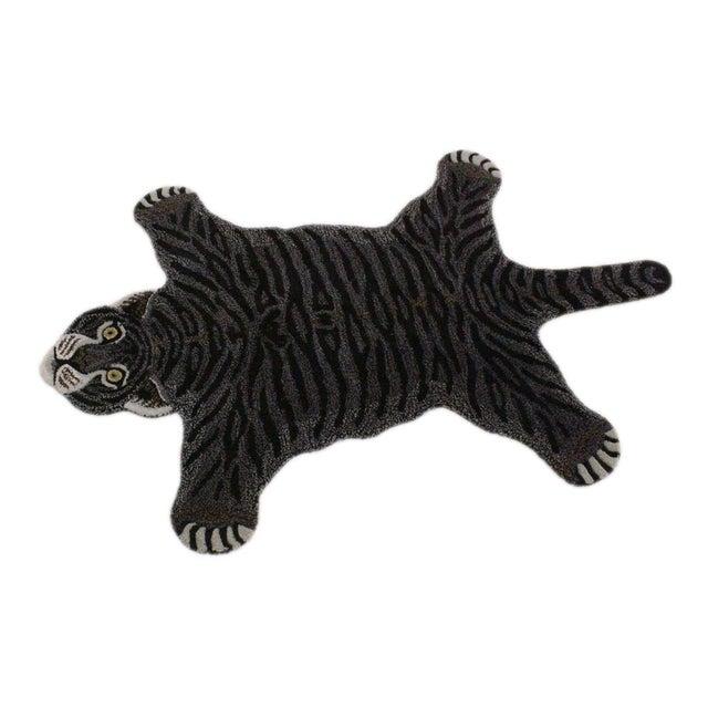 Fiber Contemporary Decorate Wild Black Tiger Design Handcuffed Area Rug For Sale - Image 7 of 8