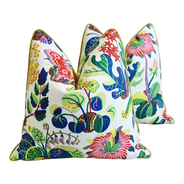 """Schumacher Exotic Butterfly Floral Feather/Down Pillows 24"""" Square - Pair For Sale"""