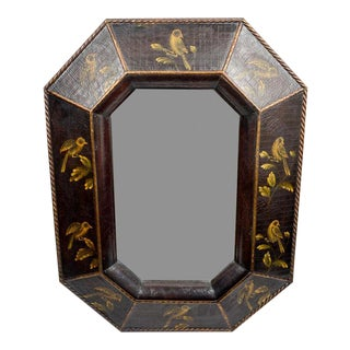 Chinoiserie Style Faux-Leather Wall Mirror For Sale