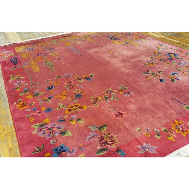 Art Deco Antique Chinese Art Deco Rug- 8′10″ × 11′4″ For Sale - Image 3 of 7