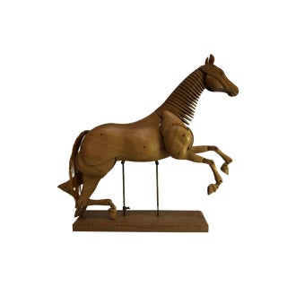 Mid-Century Modern Articulated Wooden Horse on Stand For Sale