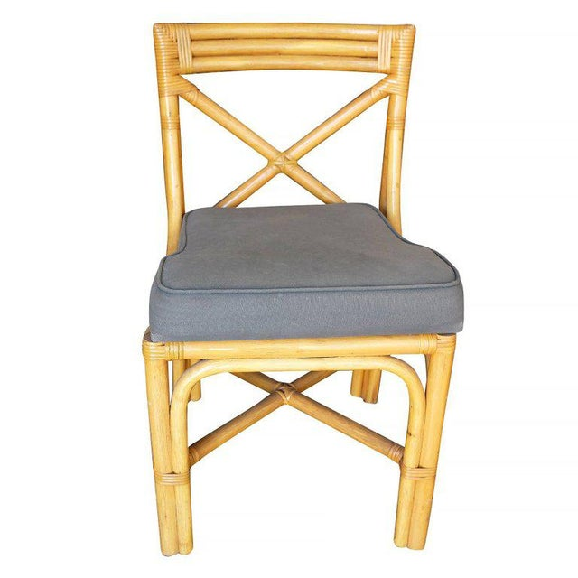 Restored Mid-Century Era Rattan Dining Side Chairs With X-Back - Image 3 of 5