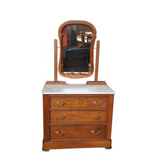 19th Century Victorian Mitchell & Rammelsberg Victorian Marble Dresser & Mirror For Sale