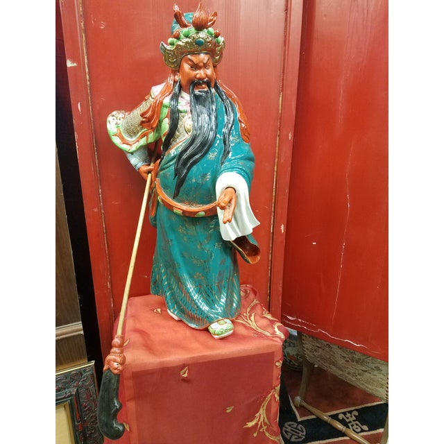 Mid-Century Chinese Porcelain Warrior Statue For Sale - Image 12 of 12