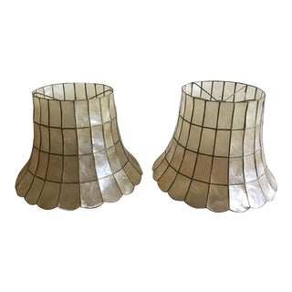 Mid-Century Capiz Shell Lamp Shades - a Pair For Sale