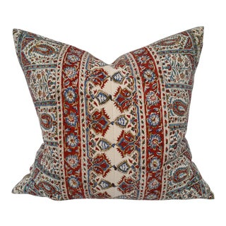 Persian Hand Block Printed Linen Pillow For Sale