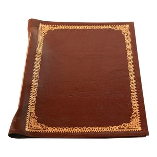 Vintage Moroccan Hand Tooled Leather Brown Portfolio For Sale