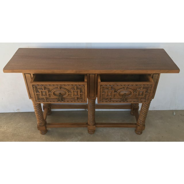 Early 19th Century Carved Walnut Wood Catalan Spanish Console Table For Sale - Image 4 of 13