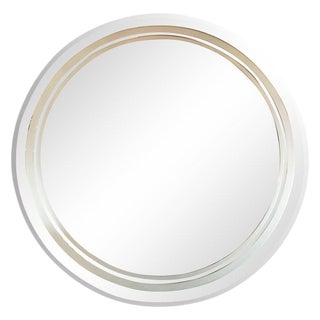 Art Deco Revival Beveled Circular Mirror With Acid Etched Frosted Banding For Sale
