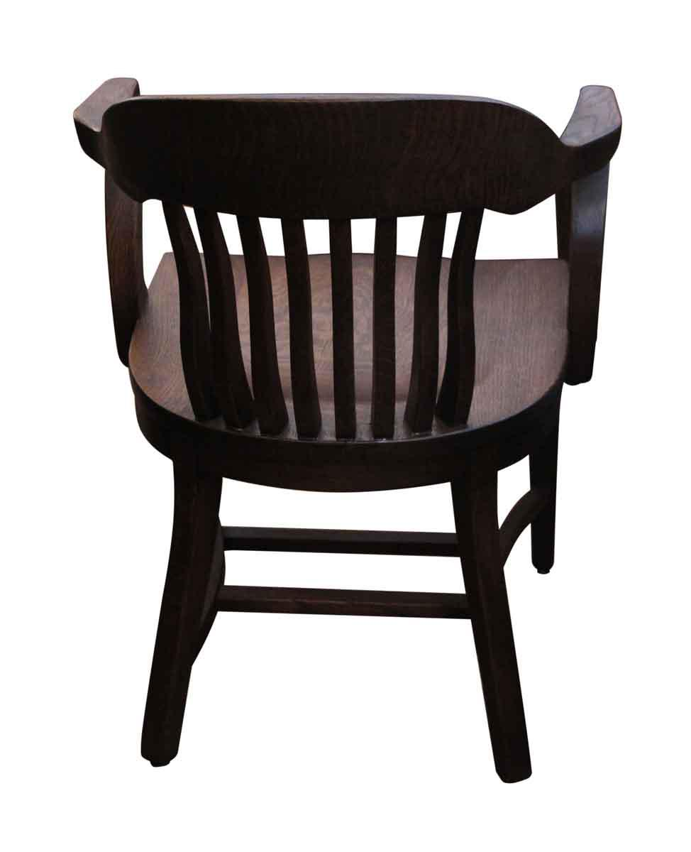Antique Refinished Oak Banker Chair For Sale   Image 4 Of 4
