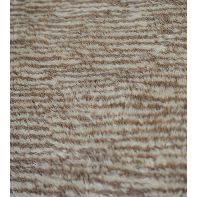 Abstract Handwoven Deep Pile Wool Rug For Sale - Image 3 of 7