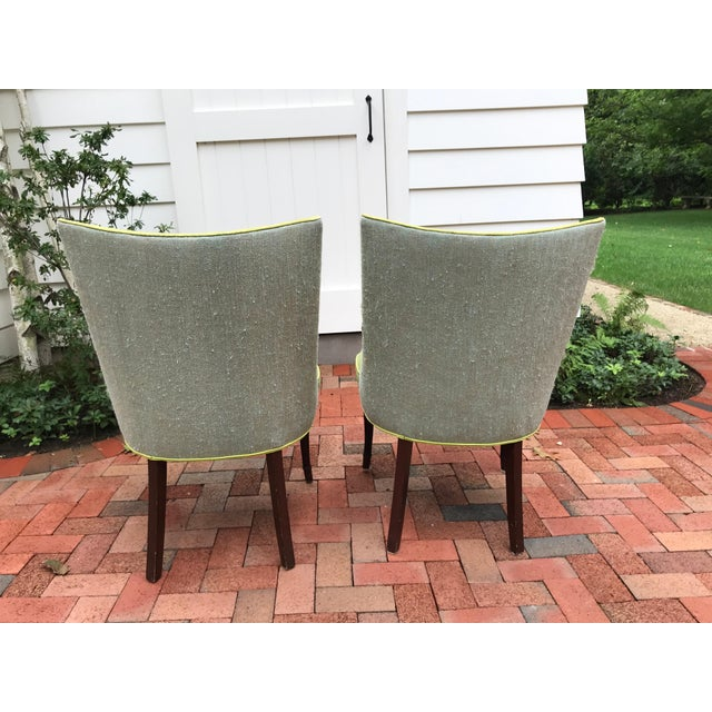 Vintage Apple Green Upholstered Dining Chairs - a Pair For Sale - Image 9 of 10