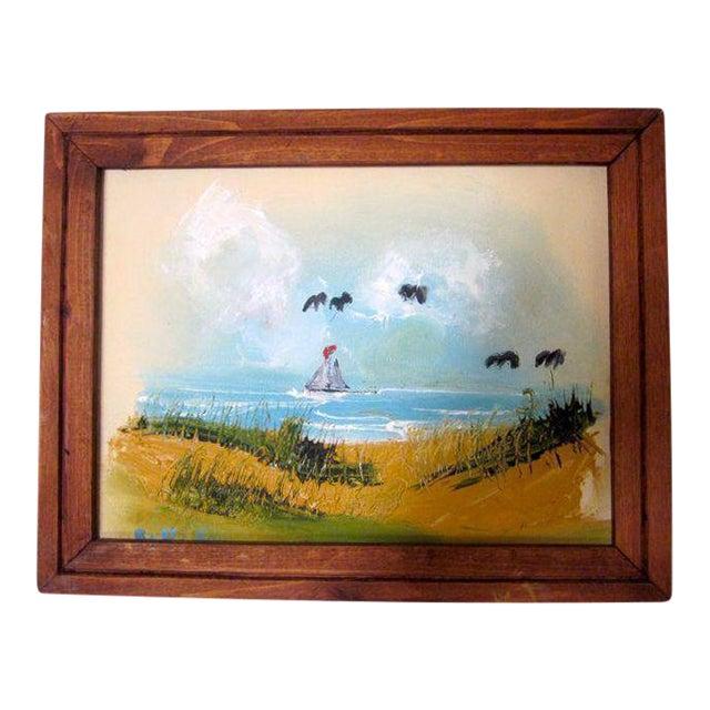Coastal Beach Scene Signed Painting - Image 1 of 9