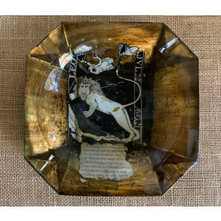 Mid-Century Glass and Decoupage Astrological Leo Ashtray Preview