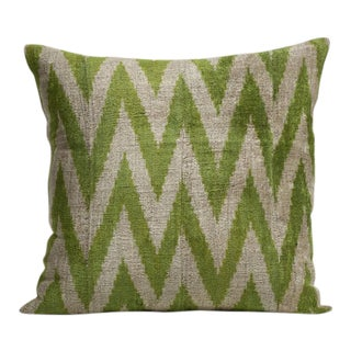 Avocado and Beige Silk Velvet Pillow For Sale