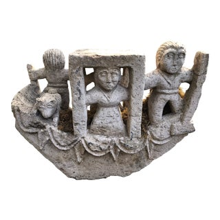 Oceanic Carved Stone Boat Sculpture For Sale