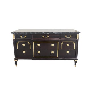 1940s Neoclassical Style Lacquered Chest With Marbletop For Sale