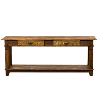 Reclaimed Peroba Rosa Wood 2-Drawer Console Table