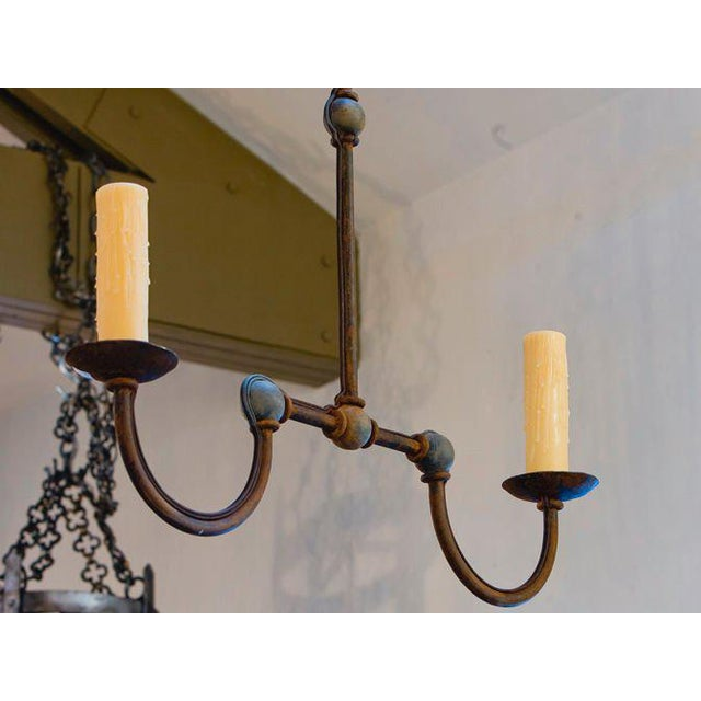 "Contemporary Custom Iron ""Marion"" Small Kitchen Island Chandelier For Sale - Image 3 of 7"