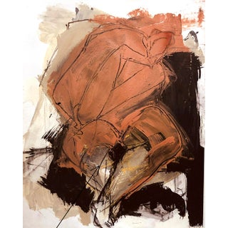 Expressionistic Figurative Painting of Seated Nude/Deep Orange Oxide + Black on Paper For Sale
