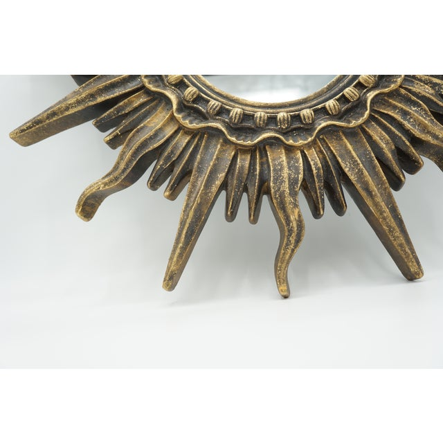 French Golden Gilt Sunburst Mirror For Sale - Image 4 of 12