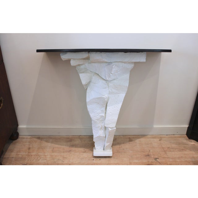 20th Century Brutalist Console Table With Black Stone Top For Sale - Image 13 of 13