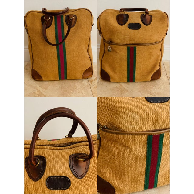 Vintage Italian Style Set of Luggage Jute and Leather, Set of 3 For Sale - Image 12 of 13