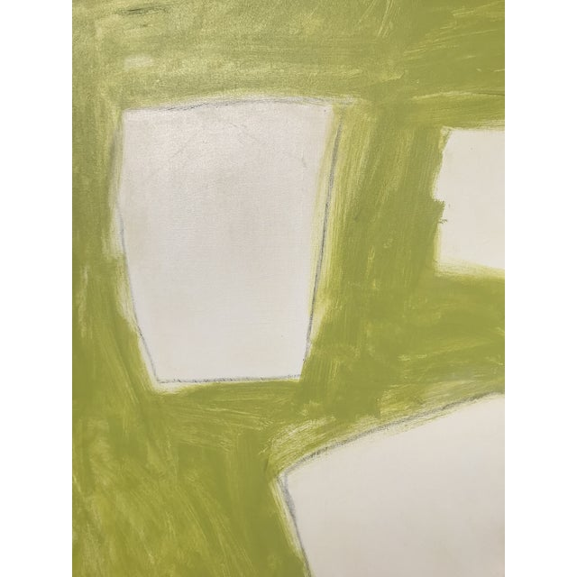 """Sarah Trundle """"Let Me Count the Ways: Shapes in Chartreuse"""" Original Abstract Painting For Sale - Image 6 of 7"""